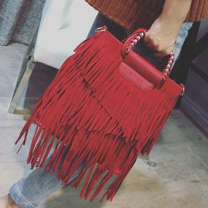 PU Leather Fringe Metallic Tote Bag -