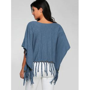 Scoop Neck Tassels Batwing Sleeve T-Shirt -