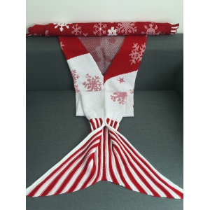Snowflakes and Santa Claus Pattern Knitting Christmas Mermaid Blanket - RED L