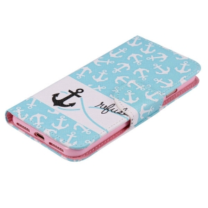 Anchor Pattern Leather Wallet Phone Case For iPhone 7 Plus -