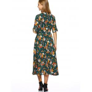 Printed Vintage Fit and Flare Dress - DEEP GREEN XL