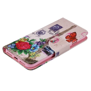 Wallet Design Tower Flower Pattern Phone Case For iPhone 7 -