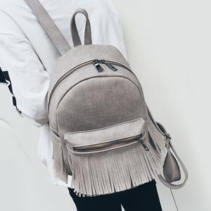 Zippers Fringe PU Leather Backpack - GRAY