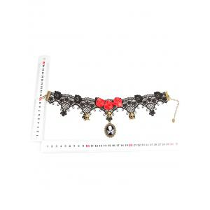 Rose Skull Statement Lace Choker Necklace -