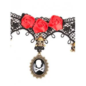 Rose Skull Statement Lace Choker Necklace - BLACK