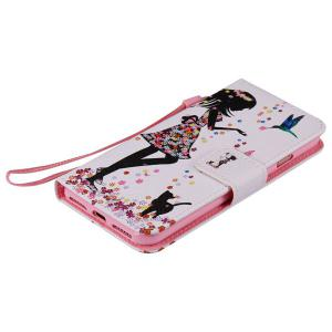 Floral Lady PU Wallet Design Phone Case For iPhone 7 -
