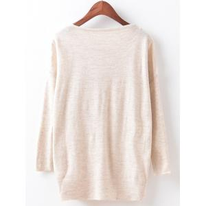 Loose Fawn Print Cute Sweater - BEIGE ONE SIZE
