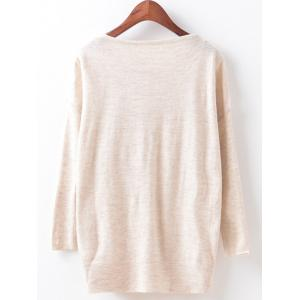 Loose Cute Printed Sweater - BEIGE ONE SIZE