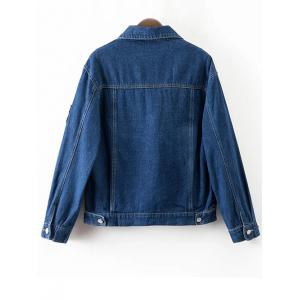Patched Denim Jacket With Pockets - DEEP BLUE L