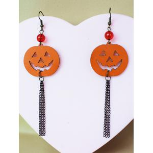 Pair of Halloween Pumpkin Tassel Earrings -