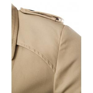 Turn-Down Collar Epaulet Design Lengthen Single-Breasted Coat -