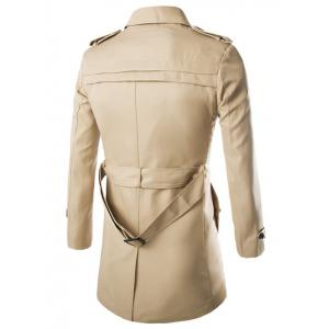 Turn-Down Collar Epaulet Design Lengthen Single-Breasted Coat - KHAKI 2XL