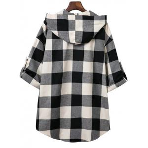 Hooded Oversized Long Flannel Shirt -