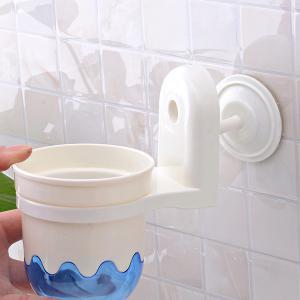 Durable Wall Mounted Suction Cup Toilet Brush Holder Set -