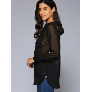 See-Through Lace Insert Chiffon Blouse -