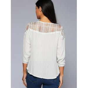 Asymmetrical Lace Insert Blouse -