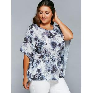 Plus Size Ink Painting Floral Blouse -