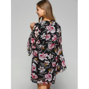 Bell Sleeve Flower Print Chiffon Dress -