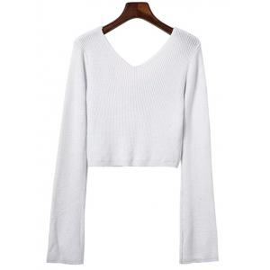 V Neck Crop Sweater - WHITE ONE SIZE