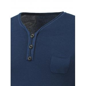 Breast Pocket V-Neck Buttoned Rib Cuff Knitwear - SAPPHIRE BLUE XL