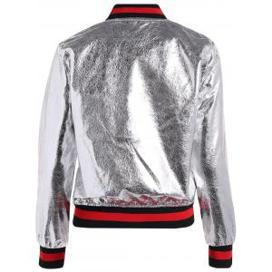Slim Zipper Fly PU Bomber Jacket -