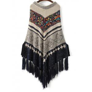 Sequined Jacquard Knit Poncho - OFF WHITE ONE SIZE