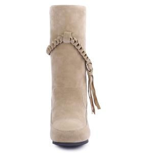 Suede Braid Fringe Mid-Calf Boots - APRICOT 41