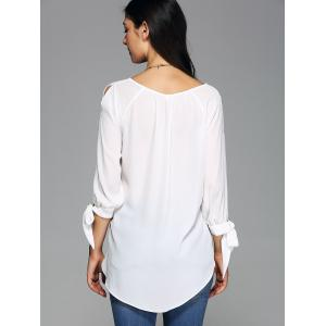 Slit Sleeve High Low Hem Blouse -