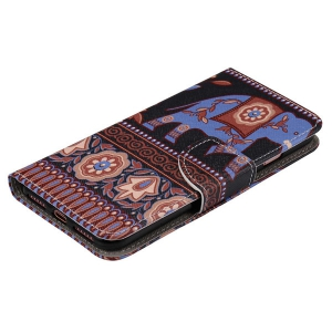 Ethnic Floral Elephant PU Wallet Design Phone Case For iPhone 7 -