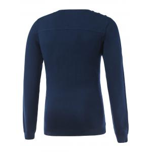 V-Neck Long Sleeve Buttoned Rib Cuff Knitwear - SAPPHIRE BLUE L