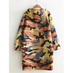 Camouflage Print Hooded Sweatshirt Dress - PASTER ORANGE XL