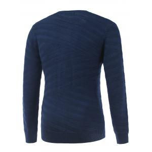 Round Neck Long Sleeve Ribbed Pullover Sweater - SAPPHIRE BLUE 2XL