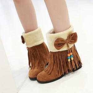 Bow Tassels Beading Boots - BROWN 39