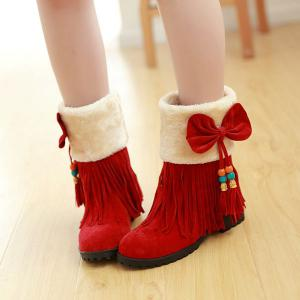 Bow Tassels Beading Boots -