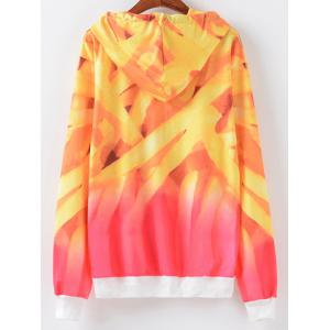 Ombre Letter Print Hoodie - YELLOW AND RED XL