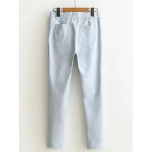 Buttoned High-Waisted Plus Size Slim Pants - LIGHT GRAY 4XL
