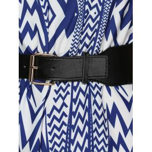 V-Neck High Waist Zig Zag Dress -