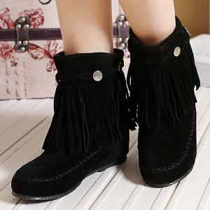 Talon plat Braid Fringe Suede Court Bottes -
