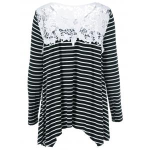 Lace Patchwork Striped Asymmetrical Blouse -
