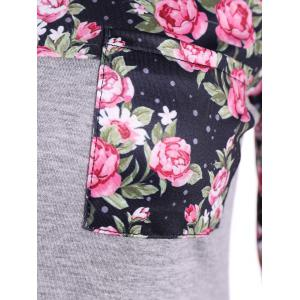 Casual Patch Pocket Floral T-Shirt - GRAY L