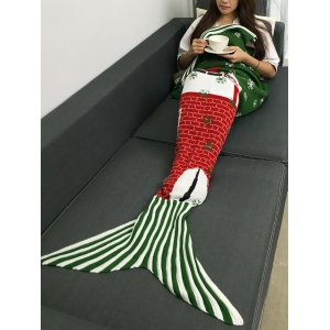 Santa Claus and Snows Design Knitted Christmas Mermaid Tail Blanket - COLORMIX