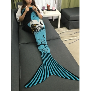Warmth Deadwood and Bat Pattern Knitted Mermaid Tail Blanket - BLUE