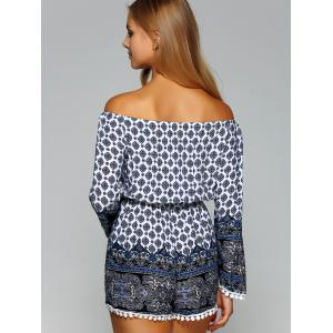 Off The Shoulder Ornate Printed Romper -