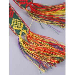 Aztec Embroidery Weaving Tassel Canvas Belt - RED