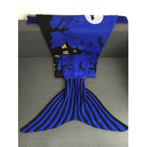 Super Soft Acrylic Knitted Halloween Mermaid Tail Blanket - BLUISH VIOLET L