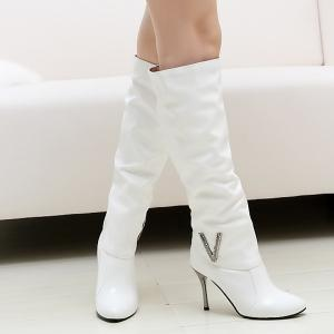 Ruched Stiletto Heel Pointed Toe Knee-High Boots -