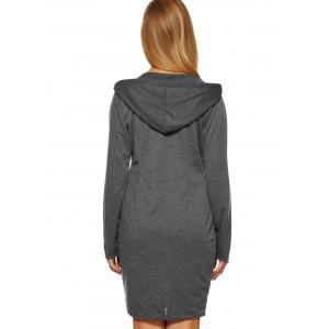 Hooded Plain Slimming Dress -