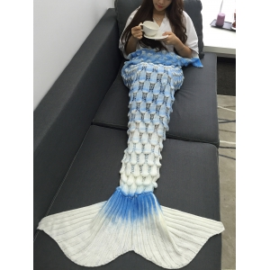 Creative Openwork Design Ombre Color Knitted Mermaid Blanket -