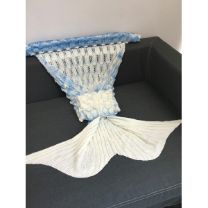 Creative Openwork Design Ombre Color Knitted Mermaid Blanket - COLORMIX