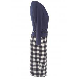 Faux Two-Piece Checkered Belted Dress - CHECKED 2XL